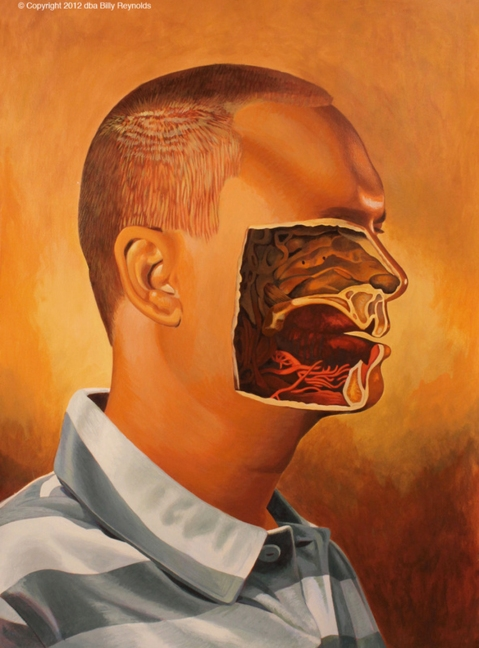 """My Portrait With Center of Face Gouged Out. 30"""" x 22"""". Acrylic on 140 lb Arches Watercolor Paper. ©2012."""
