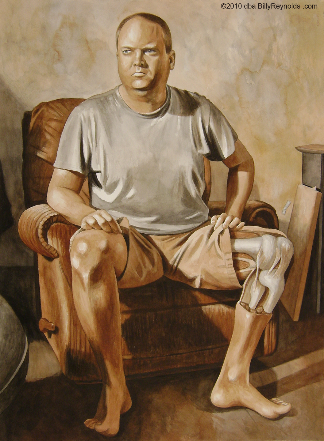 """My Left Knee"", 30"" x 22"". Watercolor on 140 lb Arches. © Copyright 2009."