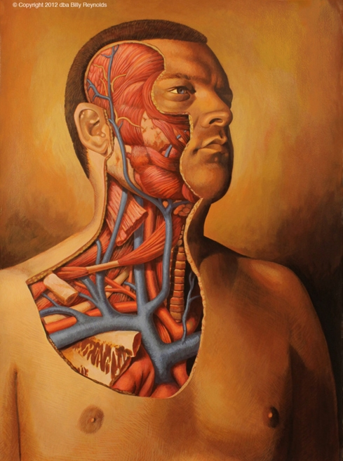 """My Portrait, Shirtless, With Right Side of Face, Neck, And Chest Area Flesh Removed to Expose My Insides. 30"""" x 22"""". Acrylic on 140 lb Arches Watercolor Paper. ©2012."""