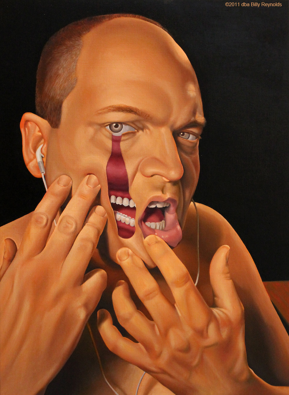 """""""Locating My Baccinator Muscle"""", 30"""" x 22"""", Oil on Linen, ©2011. Private Collection."""